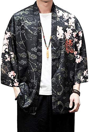[BSCOOL]カーディガン メンズ 和式パーカー 七分袖 ゆったり 開襟シャツ プリント 和柄 おしゃれ 羽織コート カジュアル 夏服 大きいサイズ コーディガン