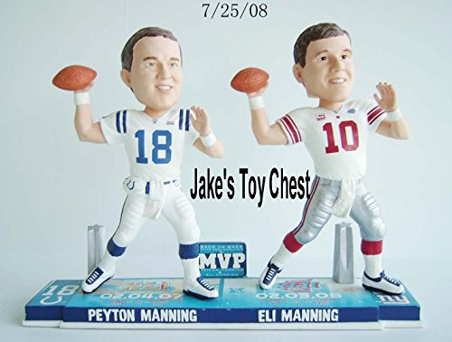 Forever Collectibles Peyton Manning & Eli Manning Super Bowl MVP Bobblehead New Only 360 Were Made Each Numbered 9 Inch