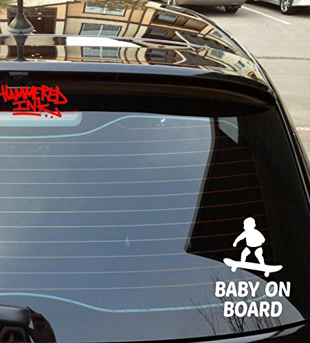 Baby on Board Skater Car STicker Vinyl Decal HAMMEReD INK