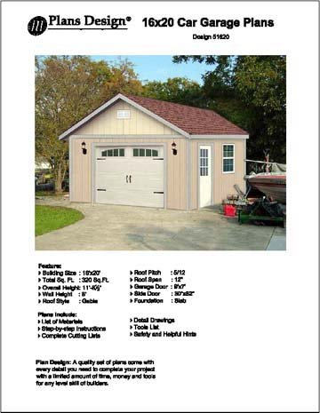16' X 20' Car Garage/workshop Project Plans -Design #51620 Workshop Plan