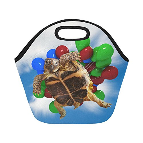 InterestPrint Cute Turtle Flying Balloons Reusable Insulated Neoprene Lunch Tote Bag Cooler 11.93