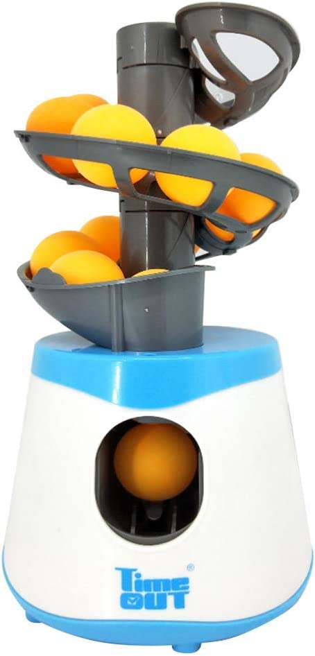 Cicony Mesa Tenis Entrenador Robot, Tenis de Mesa Lanzador con 10 Bolas - Azul y Blanco, Free Size