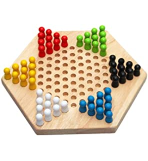 Dcolor Traditional Hexagon Wooden Chinese Checkers Family Game Set