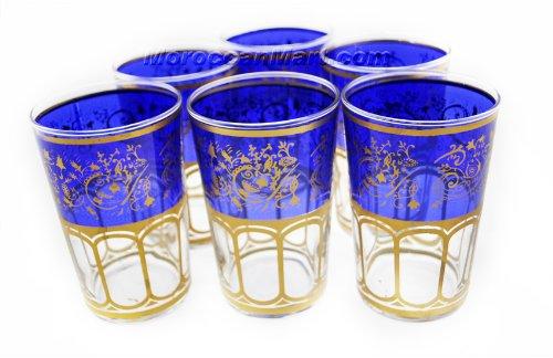 Moroccan Meknes Blue Tea Glasses (Set of 6)