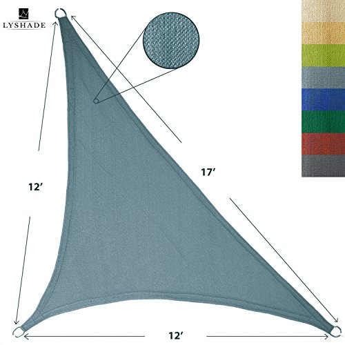 Sail Triangle - LyShade 12' x 12' x 17' Right Triangle Sun Shade Sail Canopy (Cadet Blue) - UV Block for Patio and Outdoor