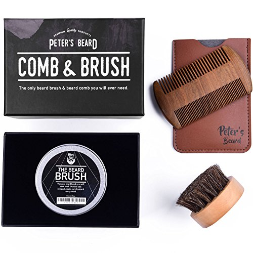 Beard Comb and Brush Set for Men - Wooden Beard Comb Sandalwood Beard Comb - Natural Horse Hair Bristle Brush - Perfect for Beard Balms & Oils – Soften and - Beard For Men Stylish