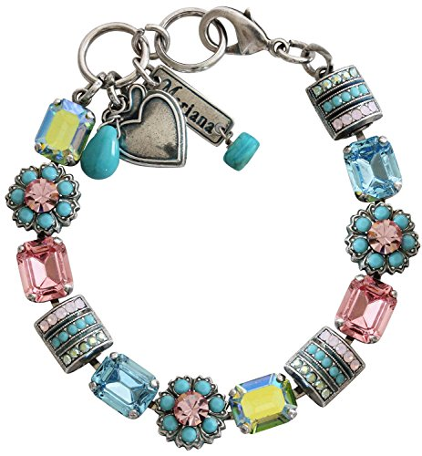 Mariana Silvertone Rectangular Flower Crystal Bracelet, 7'' Summer Fun Blue Pink Multi Color 4099 3711 by Mariana