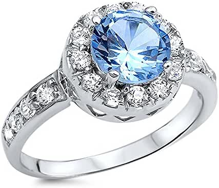 Sterling Silver Halo Round Light Blue Cubic Zirconia Ring