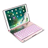 (US) iPad Pro 10.5 Keyboard Cover Case Aluminum Wireless Bluetooth Keyboard Hard Back Folio Protective Smart Case Stand 7 Colors Backlit for iPad Pro 10.5 (rose gold)