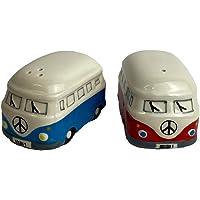 Camper Van zout en peper sets rood + blauw mix camper van geschenken keramiek
