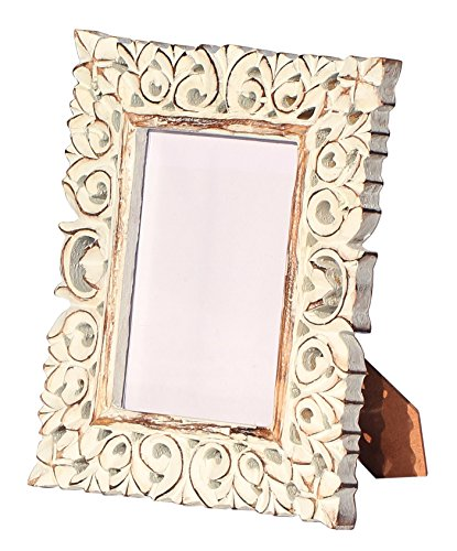 Photo Picture Frame - SouvNear Hand Carved White Washed Photo Frames 5x7 with Stand in Solid Mango Wood - Antique Look Distressed Finish for Living Room Table Decor - Halloween (White Distressed Finish Wood)