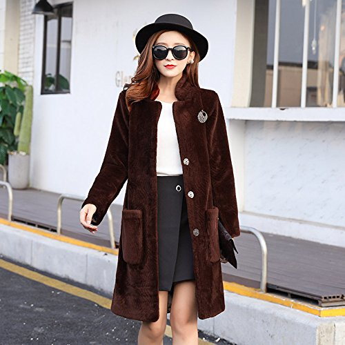 Windbreaker Coat length DYF XL Caramel sleeve button Women Medium Long Collar Pocket Color 5nqpBg