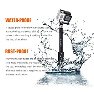 "Shineda Telescopic Handheld Monopod Pole Selfie Stick SD-208 for GoPro Hero 2 3+ 4 5 6 and GoPro Session, SJCAM SJ4000 SJ5000 Xiaomi Yi Action Cameras,36"" (Black)"