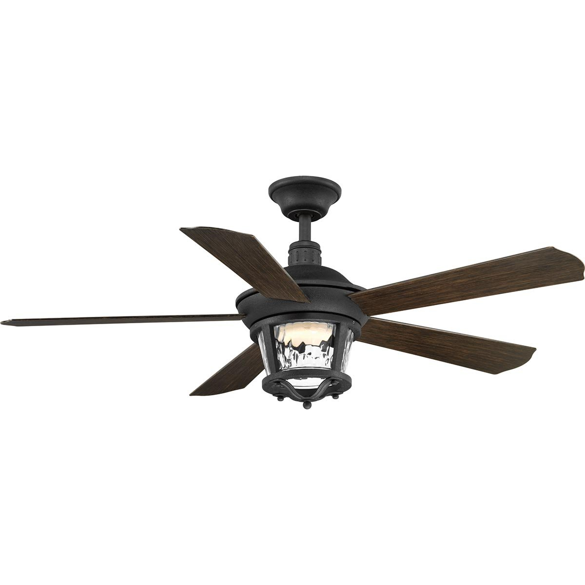 Progress Lighting P2576-8030K Protruding Mount, 5 Toasted Oak Blades Ceiling fan with 18 watts light, Forged Black