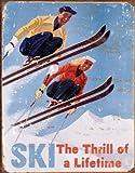 Ski Thrill of a Lifetime Ski Plaque en métal rétro montrant l'32 x 41 cm