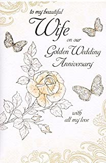 wife golden 50th wedding anniversary card amazon co uk office products