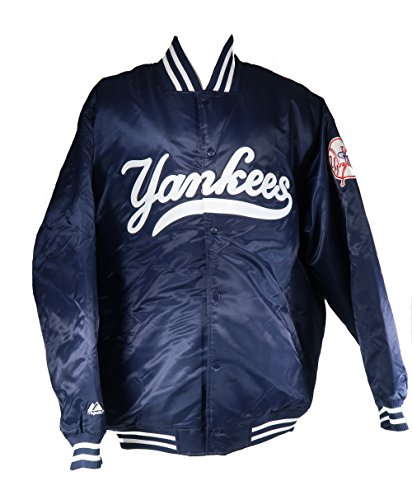 Majestic Men's Authentic New York Yankees Satin Navy Blue Jacket (XX-Large) (Authentic Satin Jacket)