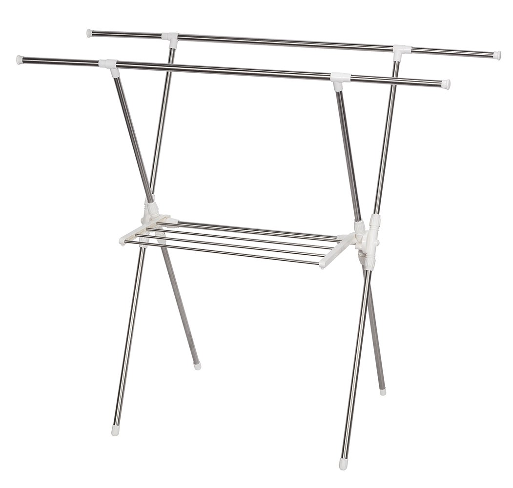 STORAGE MANIAC Expandable Clothes Drying Rack Heavy Duty Stainless Steel Laundry Garment Rack, 38-61 inch Wide - Extensible Horizontal Rods: Both rods can be extended from 38.5'' to 61'', the max size is 61x26x52 inch, perfect for queen size quilt Stainless Steel: The construction of this rack is rust-proof stainless steel, perfect for indoor or outdoor drying, will not rust even under rainy environment Towel Rack: The side of rack eatures a towel rack that add more room for bath towel, socks or other clothes need to be flat to dry - laundry-room, entryway-laundry-room, drying-racks - 510983WfVhL -