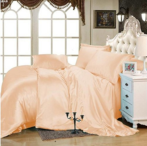 "MOONLIGHT BEDDING Luxurious Ultra Soft Silky Vibrant color Satin 6-Piece (1 Flat sheet, 1 Fitted Sheet & 4 Pillowcases) Bed Sheet Set with 15'' deep King, Peach - 100% Polyester Satin This 6 Piece Sheet set Includes: One Flat Sheet 102"" x 108"", One Fitted Sheet 76"" x 80"" and Four Pillowcases 20"" x 40"" each. Note :- Comforter is not include with this set. Top quality construction - Anti-Snagging satin fabric, silky soft touch, smooth and comfy, hypoallergenic, wrinkle free. - sheet-sets, bedroom-sheets-comforters, bedroom - 510988pkXiL -"