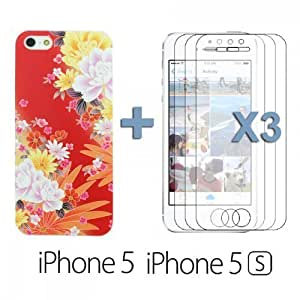 Carving Patterns Plastic For Iphone 4/4S Case Cover - Style H with 3 Screen Protectors