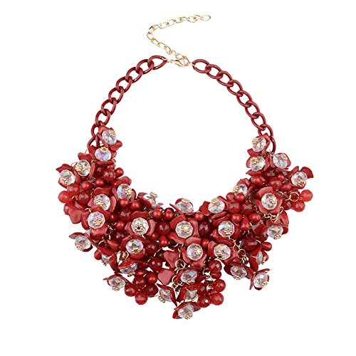 Retro Beaded Necklace (Ziye Shop Retro Bohemian Multilayer Floral Beaded Necklace for Women (Red))