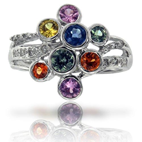 14k White Gold Multi Sapphire Gemstone and Diamond Ring, Birthstone of September