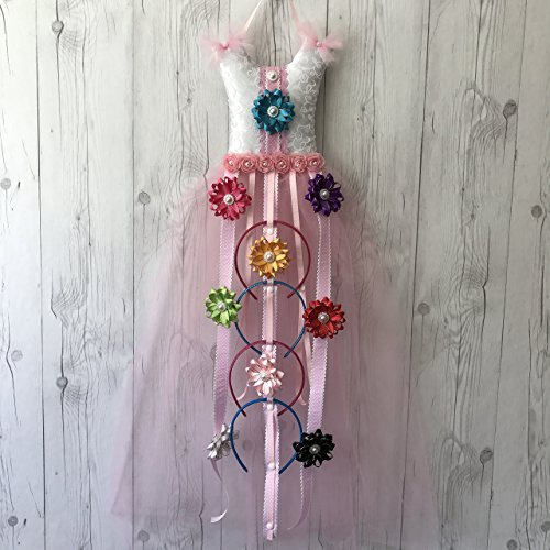 Bead&Cord All-in-One Pink Tutu Dress Hair Bow Holder Organizer: Hair Accessories Organizer for Headbands, Hair Bows, Hair Clips, and Baby Headbands [Tutu Pink Favorite Glitter]