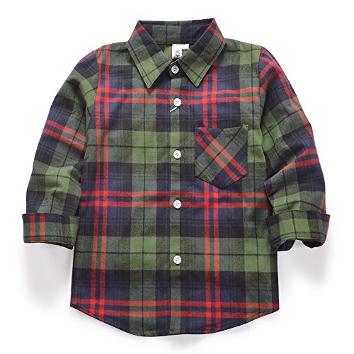 Green Plaid Button Shirt Down (OCHENTA Boys' Long Sleeve Button Down Plaid Flannel Shirt E024 Green Red Tag 100CM - 2T)