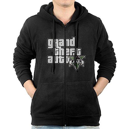 Grand Theft Auto GTA 5 Logo Zipper Sweatshirts For Men XL Black