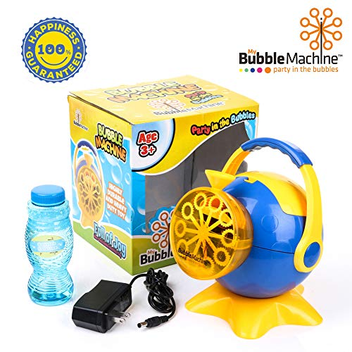 Bubble Blower Machine - Bubble Machine for Kids, Automatic High Output Bubbles Blower 1000 Bubble per Minute, Portable Bubble Maker for Birthday Party Fun Indoor Outdoor Use with Bubble Solution Included