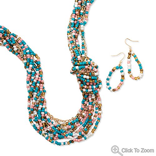 W3494 Multicolor Seed Bead Fashion fzFARW Necklace and Earring Set ajdhuie7865 nbvmk4567 hnjjjiotye34 56yjbnmcv 24
