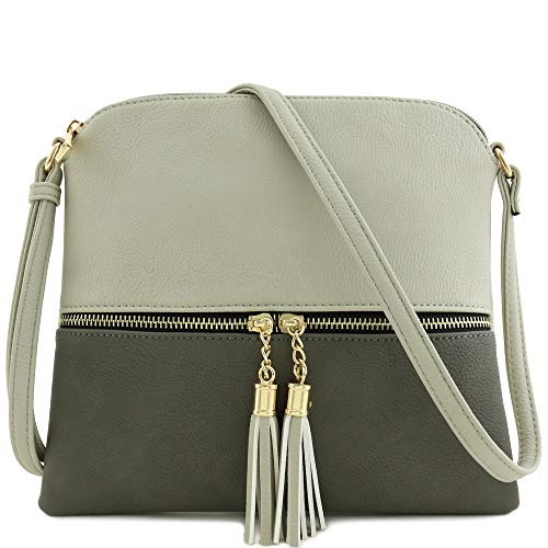 Lightweight Color-block Medium Crossbody Bag with Tassel (Light Grey/Grey)