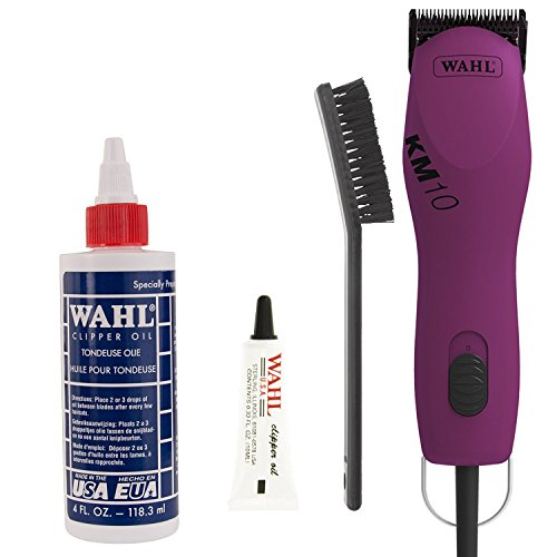 (WAHL KM10 2 Speed Brushless Motor Professional Animal Clipper with a Bonus 4 oz. Clipper Oil (Berry))