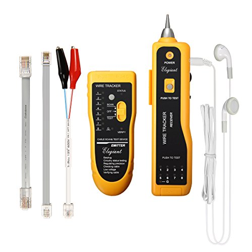 Cable tester, ELEGIANT XQ-350 Wire Tracker Tester RJ45 RJ11 Network Tester Telephone Phone Wire Finder Ethernet LAN Line Finder Cat5 Cat6 with 2 Network Wire Stripper, Headphone, (Phone Cable Tester)