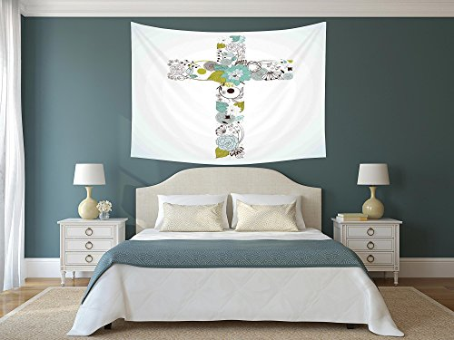 iPrint Polyester Tapestry Wall Hanging,Baptism,Cross Made from Flowers Blessing Blossom newborn Catholic Party Illustration,Seafoam Avocado Green,Wall Decor for Bedroom Living Room Dorm by iPrint