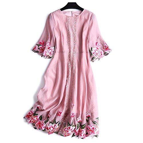2018 Meubles M Chinois Style de de Robe mre d't Anciens Robe Robes Pink Robe Style Broderie MiGMV de Nouveau qtzT4a
