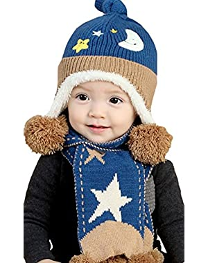 New Star Moon Cap Baby Cap Cute Winter Baby Kids Girls Boys Warm Woolen Scarf Circle Loop Infinity Hats Set (Blue...