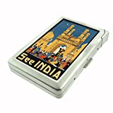 Perfection In Style Metal Cigarette Case with Built In Lighter Vintage Travel Posters Design 004