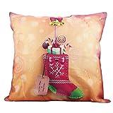 Iuhan 4545cm Merry Christmas Print Zipper Pillowcase Linen Cotton Sofa Cushion Cover Home Decor (G)