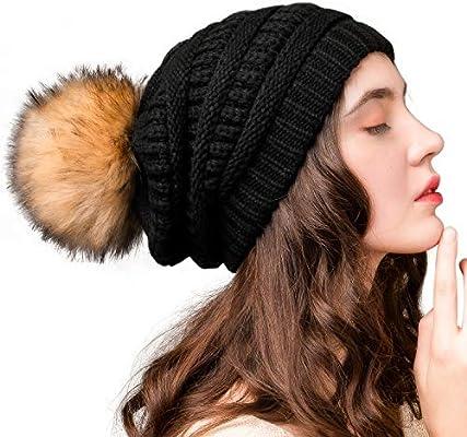Ladies Chunky Knit Women Cap Winter Warm Unisex Fur Pompom Bobble Casual Hat