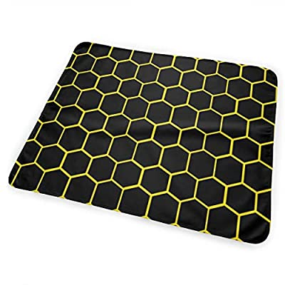 Black and Yellow Beehive Honeycomb Hexagon Bed Pad Washable Waterproof Urine Pads for Baby Toddler Children and Adults 31.5 X 25.5 inch