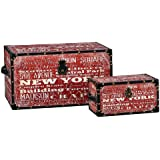 Household Essentials New York Design Storage Trunk, Large and Small