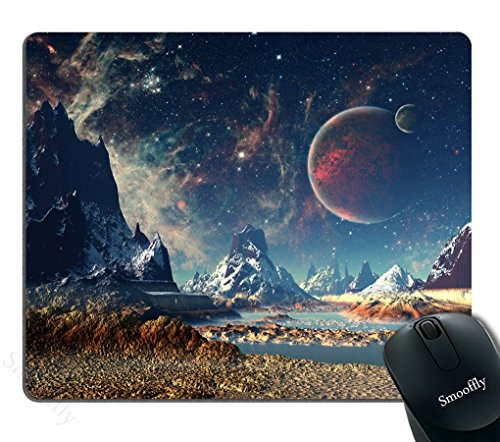 Smooffly Gaming Mouse Pad Custom,Planet with Earth Moon and Mountains Mouse pad 9.5 X 7.9 Inch (240mmX200mmX3mm) ()