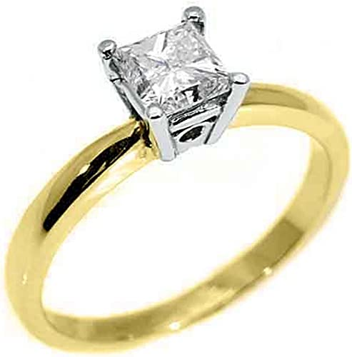 14k Yellow Gold 50 Carats Solitaire Princess Cut Diamond Engagement Ring Amazon Com