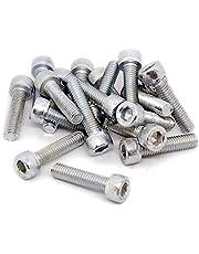 M6(6mm x 25mm) Tornillos de rosca Cabeza hexagonal Enchufe (acero, 20unidades).