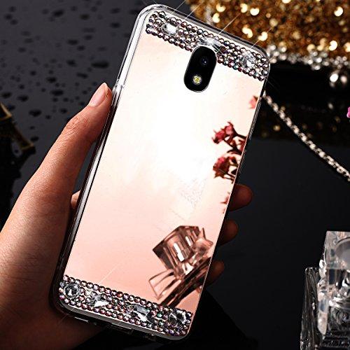 - Galaxy J730 J7 Pro (2017) Case,ikasus Crystal Rhinestone Bling Diamond Glitter Rubber Bumper Soft TPU Silicone Rubber Diamond Mirror Back Skins Case Cover Galaxy J730 (2017) / J7 Pro (2017),Rose Gold