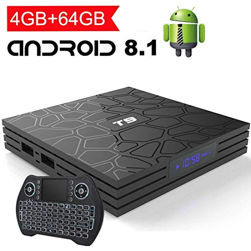 EASYTONE Android 8.1 TV Box 4GB RAM 64GB ROM,Quad Core/ 64 Bits/ BT4.1/ H.265/ 3D UHD 4K Smart Box,Support 2.4G/5G Dual Wifi/100M LAN Android Boxes with Wireless Backlit Keyboard ()