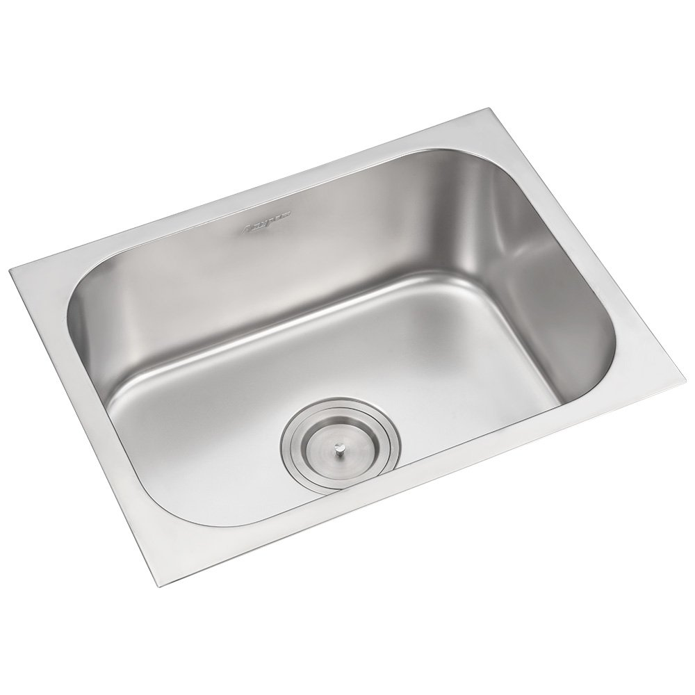 Anupam stainless steel kitchen sink 116a 610 x 510 x 200 mm 24 x 20 x 8 inch single square bowl 304 grade satin matt finish amazon in industrial