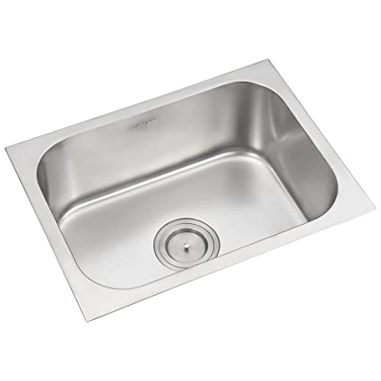 Anupam 116A, 304 Grade Stainless Steel Single Square Bowl Kitchen Sink  24 x 20 x 8 inch , Satin Finish Commercial Sinks