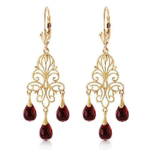 3.75 Carat 14K Solid Gold Chandelier Earrings Natural Garnet
